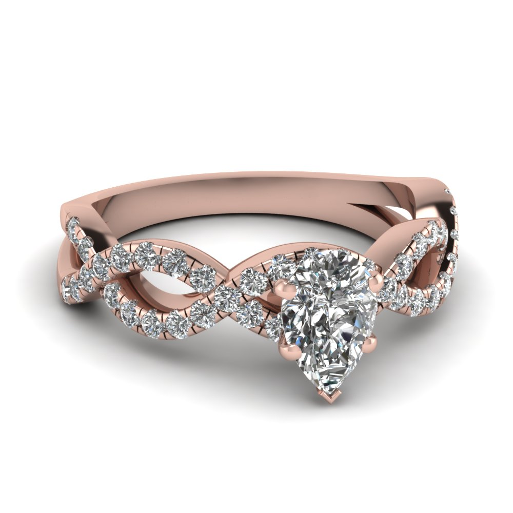 Pear Shaped Diamond Side Stone Engagement Rings With White Diamond In 14k Rose  Gold