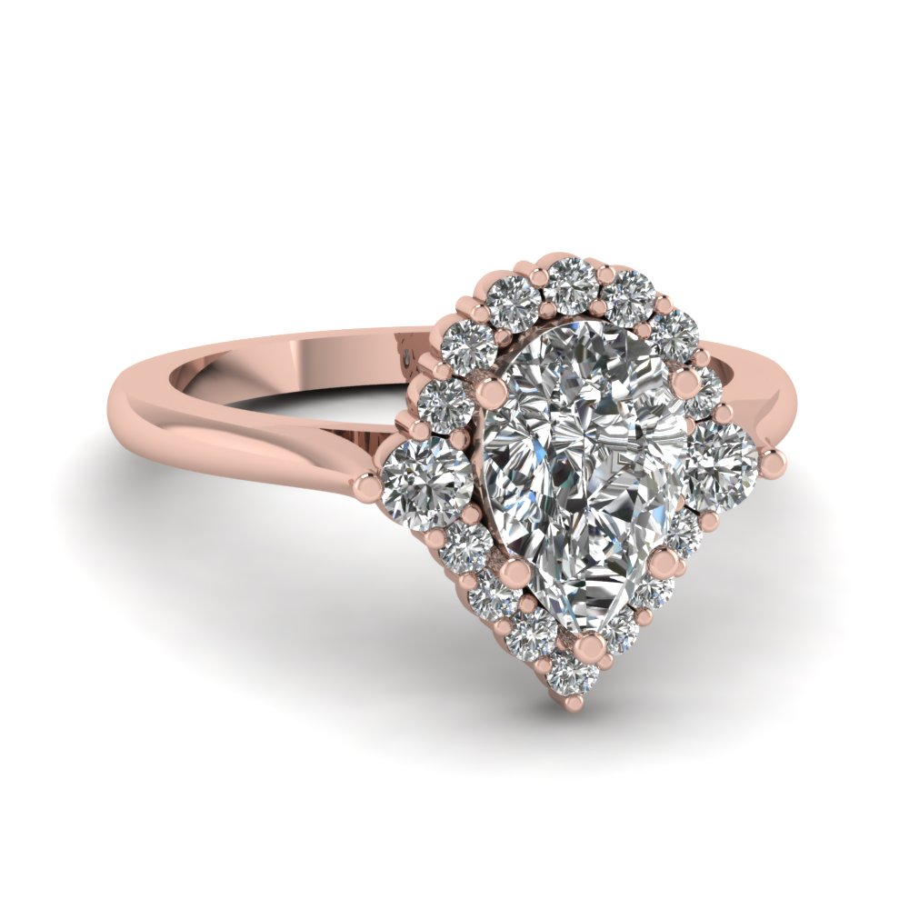 Pear Shaped Diamond Engagement Ring In 14K Rose Gold
