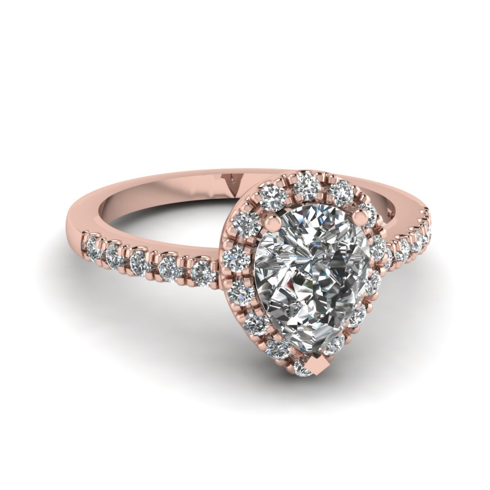 Pear Shaped Diamond Halo Engagement Rings With White Diamond In 14k Rose  Gold