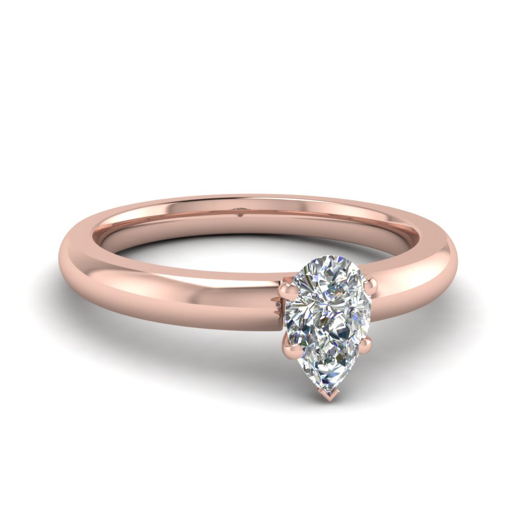Comfort Fit Classic Rose Gold Pear Diamond Engagement Ring