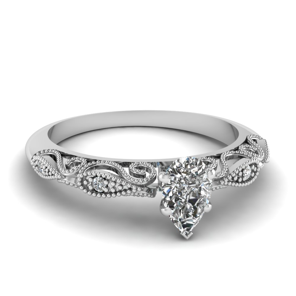 engagement rings shaped ring pear stone diamond