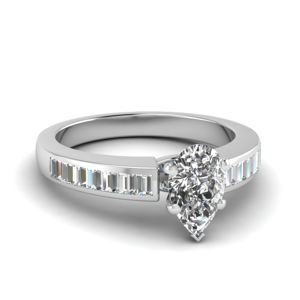 3/4 Carat Pear Cut Wedding Rings