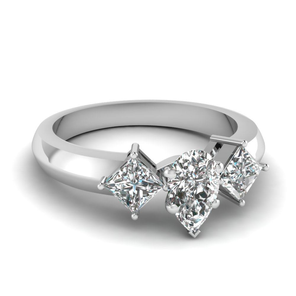 kite set 3 stone pear shaped engagement ring in FDENR263PER NL WG