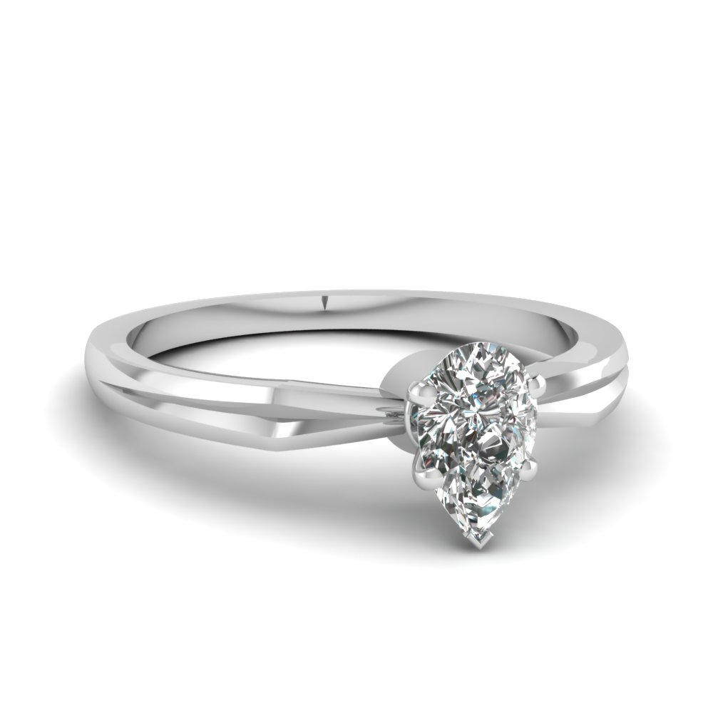 tapered pear shaped diamond solitaire engagement ring in FDENR3757PER NL WG