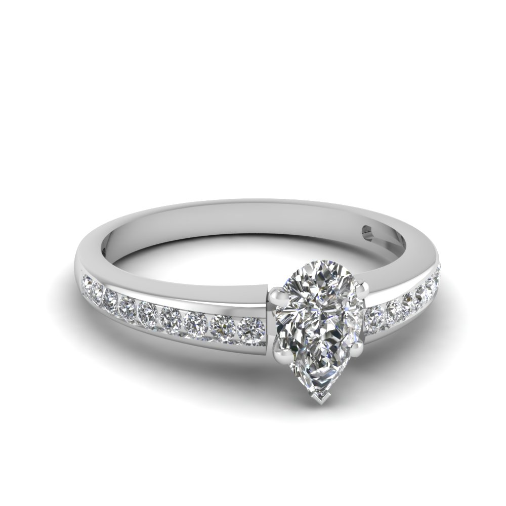 Women Engagement Ring With Pear Shaped Diamond