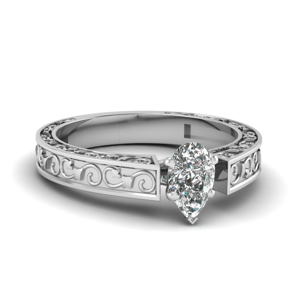 pear shaped diamond filigree solitaire engagement ring in FDENS3583PER NL WG.jpg