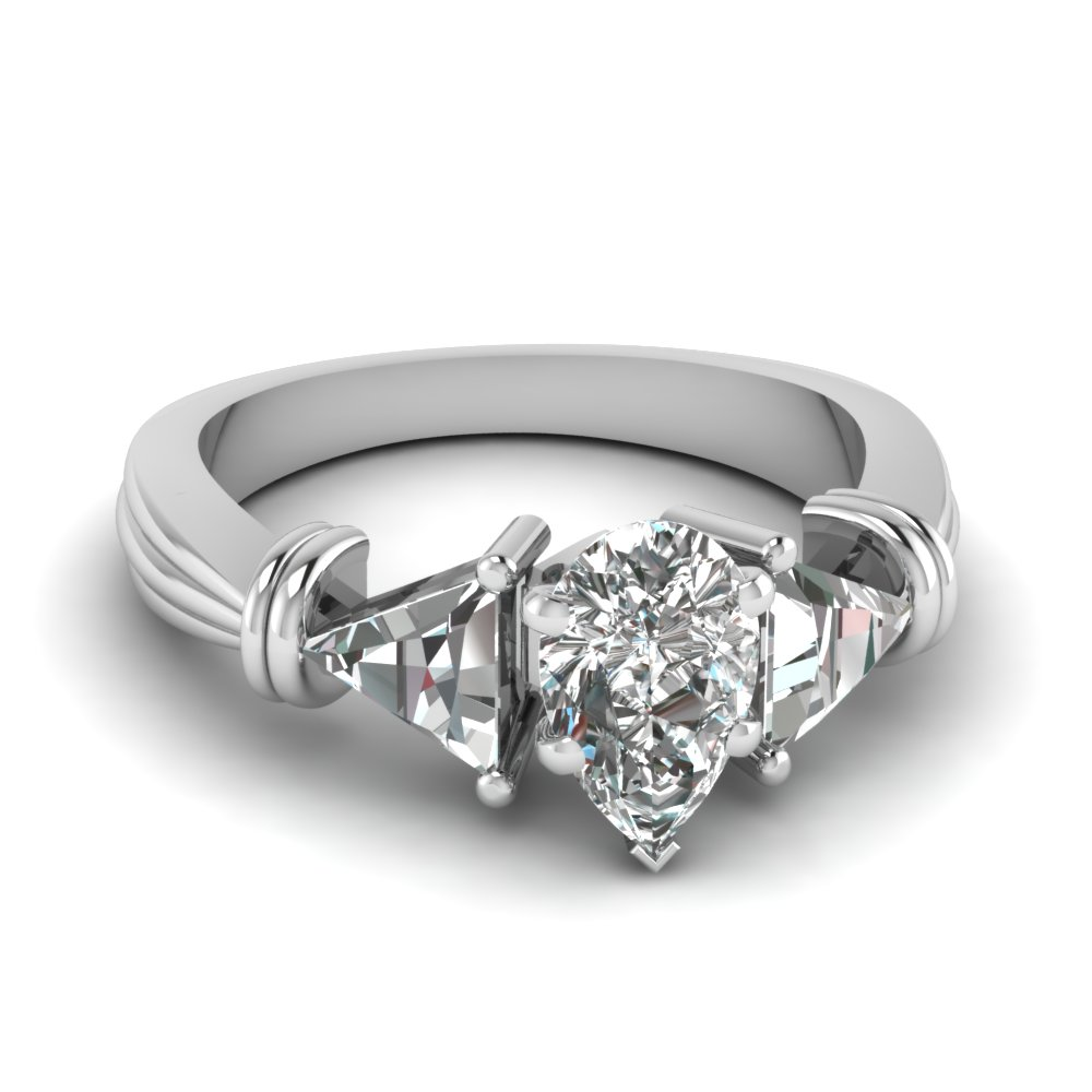 trillion 3 stone pear diamond engagement ring in FDENS623PER NL WG