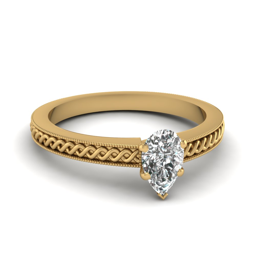 Pear Shaped Milgrain Engagement Rings