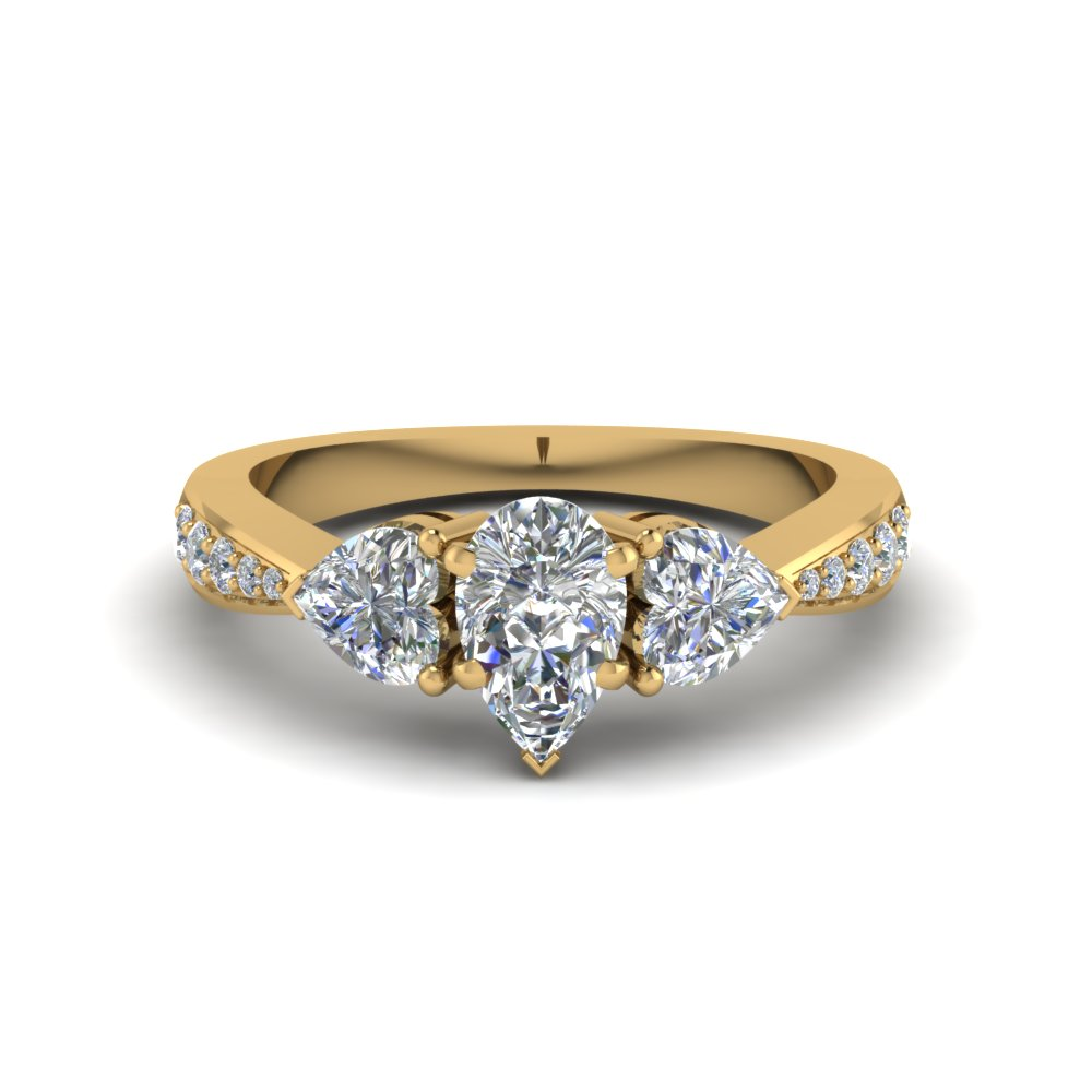 Yellow Gold Pear Shaped Diamond Side Stone Rings