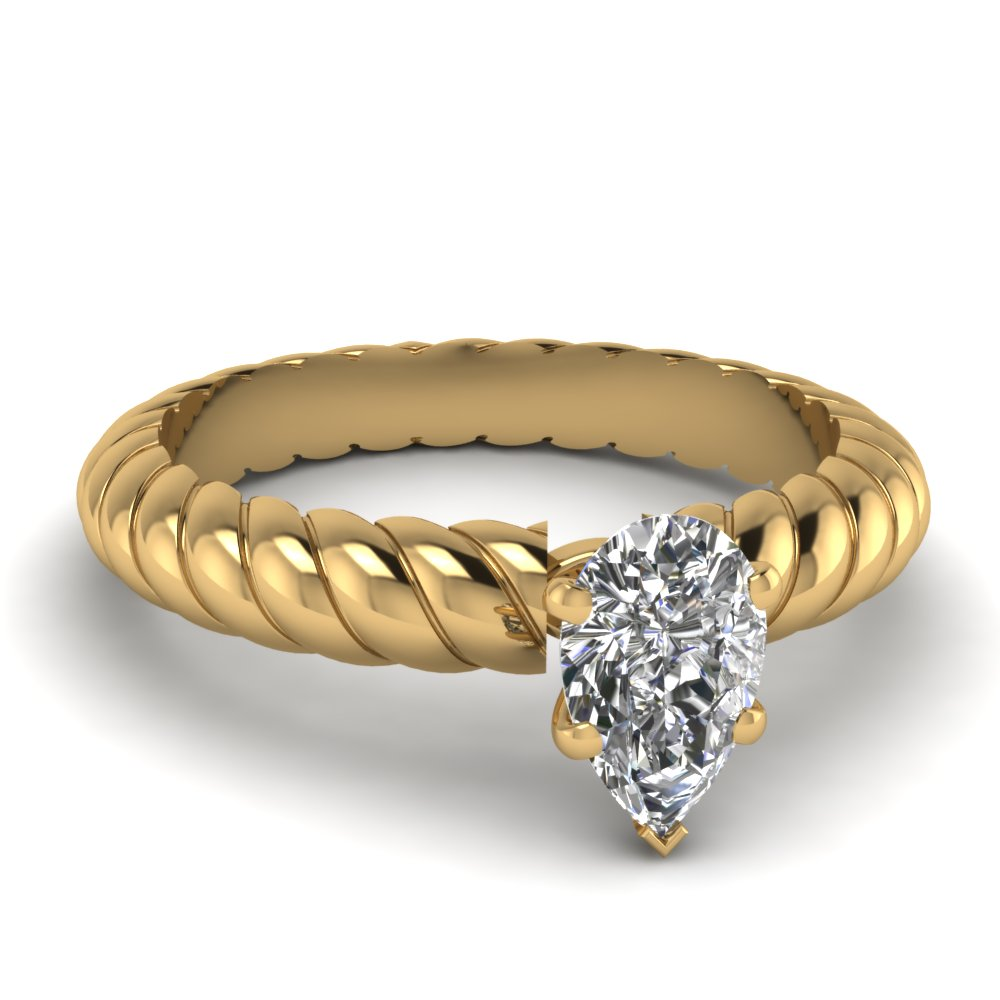 Pear Shaped Solitaire Engagement Rings
