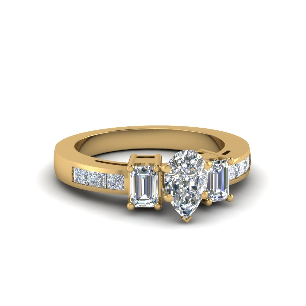 Pear Diamond Engagement Ring With Princess Channel Set