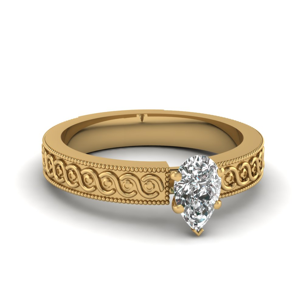 engraved milgrain pear shaped solitaire engagement ring in FDENS3605PER NL YG