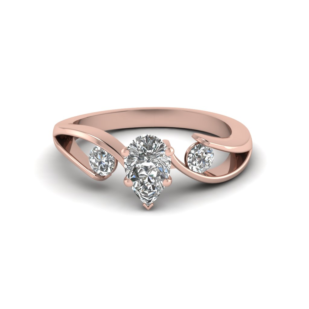 gold rings white rockher shape pave ring halo shank engagement diamond with pear elevated in