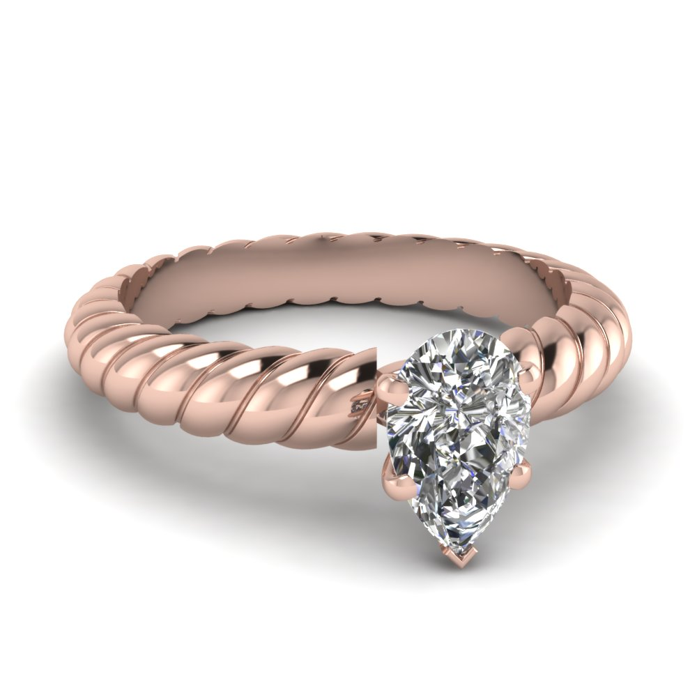 pear shaped rope solitaire engagement ring in FDENS1793PER NL RG