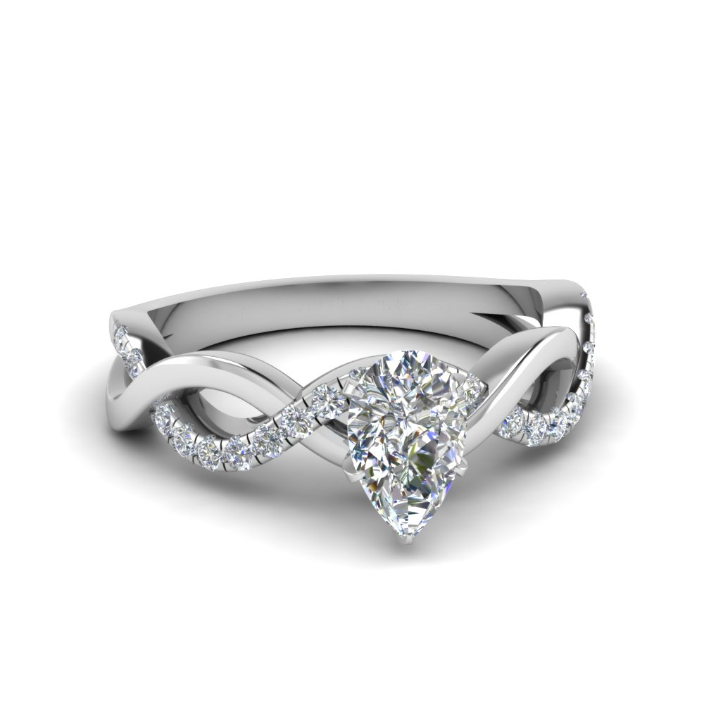 pear shaped infinity diamond engagement ring in FD1122PER NL WG