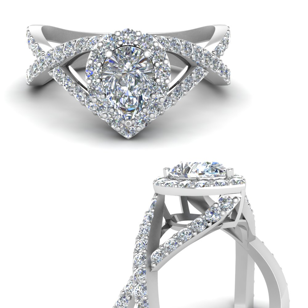 Criss Cross Pear Halo Diamond Engagement Ring In 18k White Gold