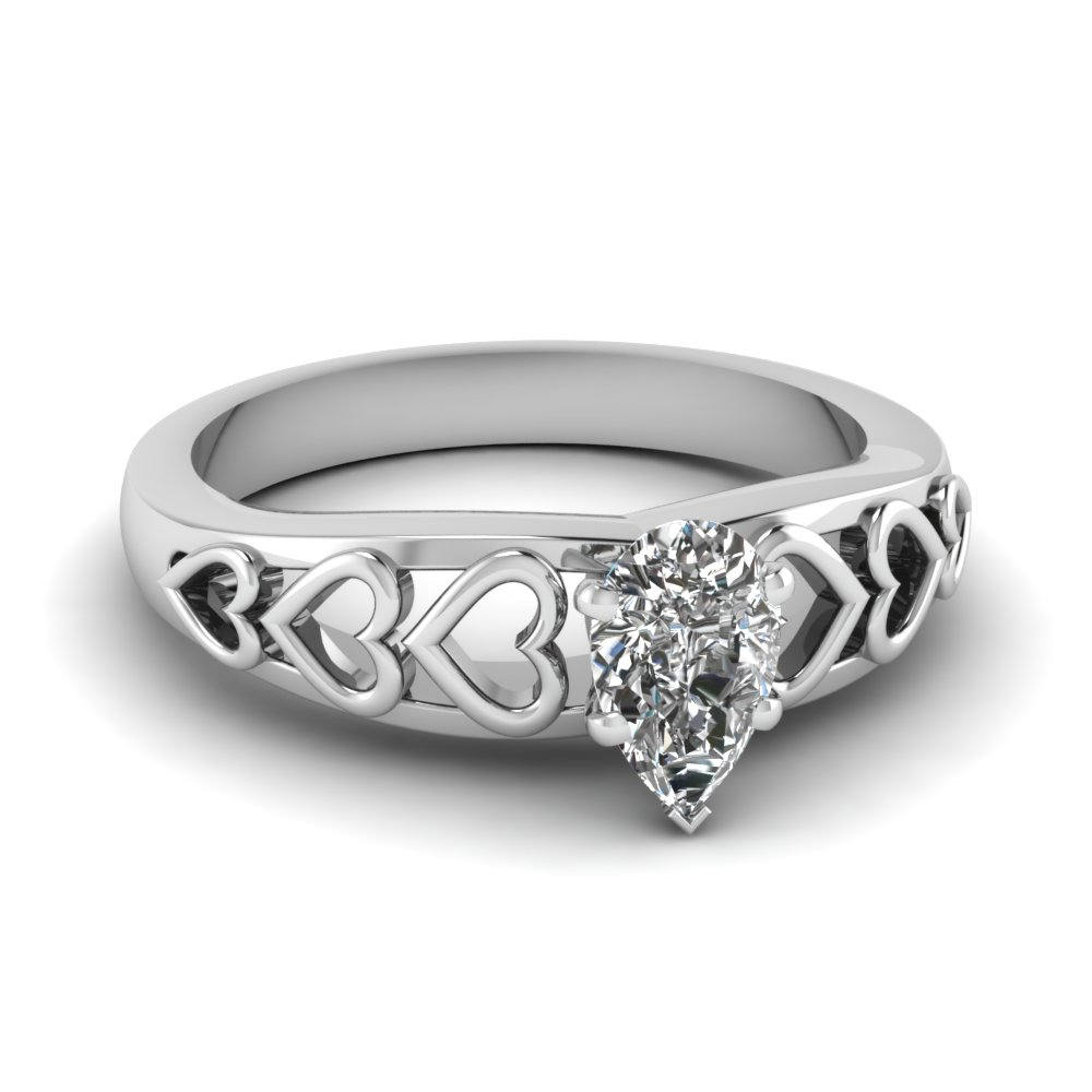 pear shaped heart design solitaire diamond engagement ring in FD1148PER NL WG