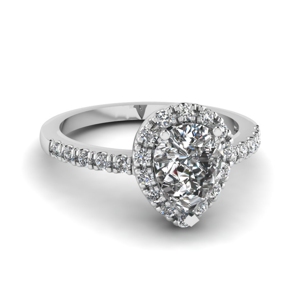 06094838c821 Pear Shaped Halo Diamond Engagement Ring In 18K White Gold ...
