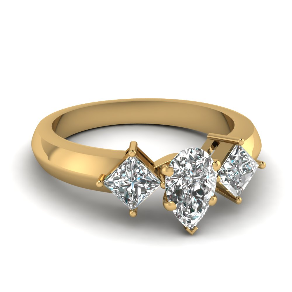kite set 3 stone pear shaped engagement ring in FDENR263PER NL YG
