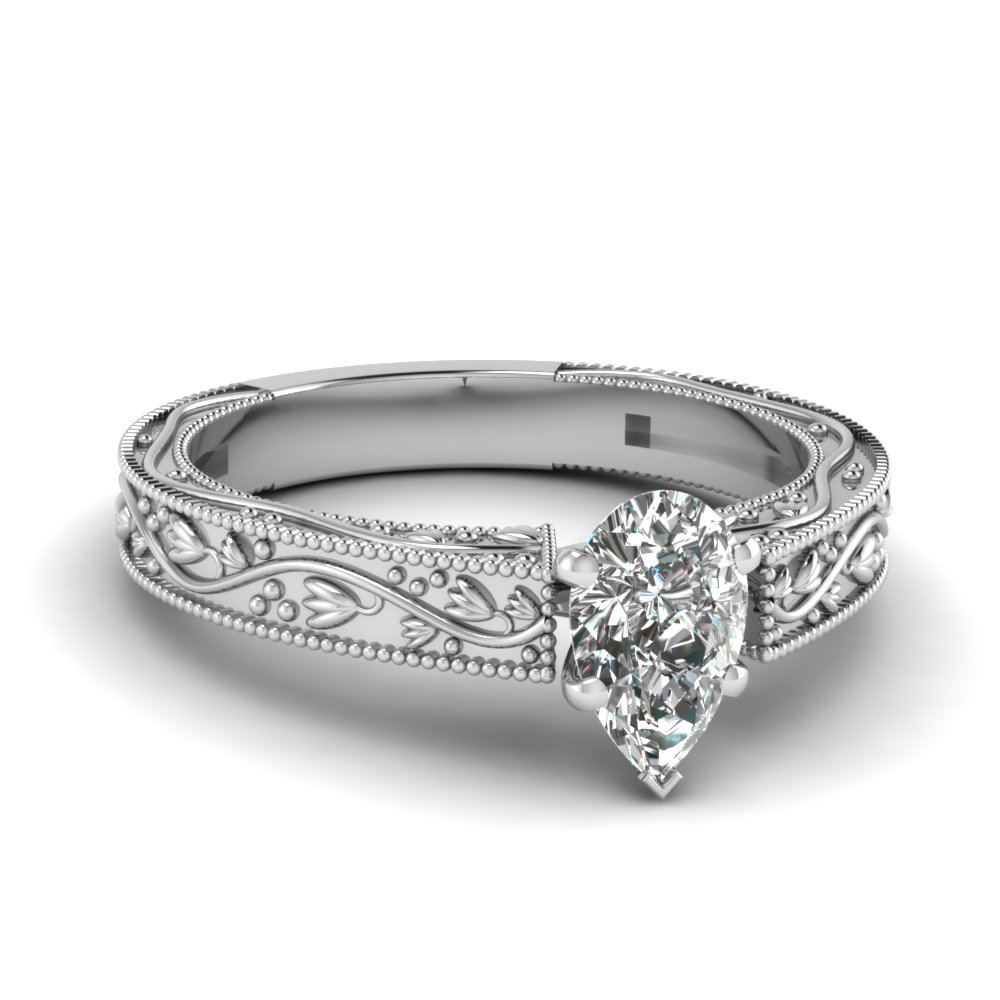 Platinum Pear Shaped Solitaire Ring