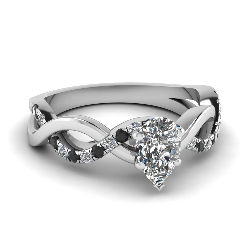 Pear Shaped Diamond Side Stone Engagement Rings With Black Diamond In 14k  White Gold