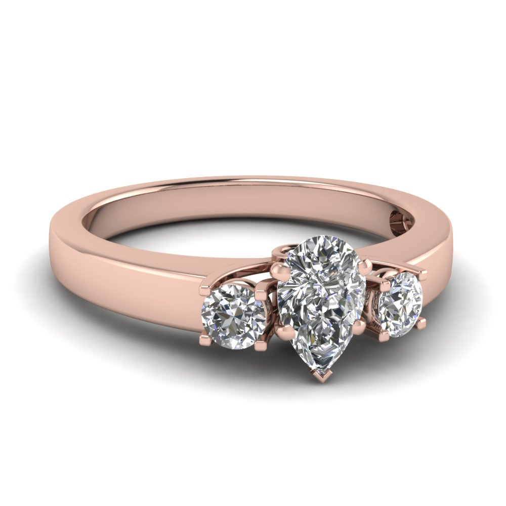 Pear Shaped Diamond Side Stone Engagement Rings With Black Diamond In 18k Rose  Gold