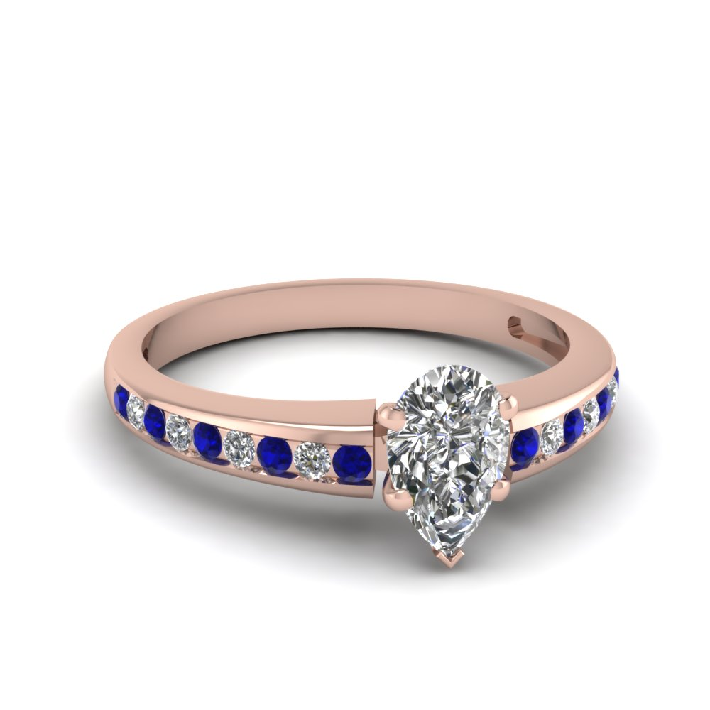 pear channel diamond with sapphire ring in FDENS3018PERGSABL NL RG