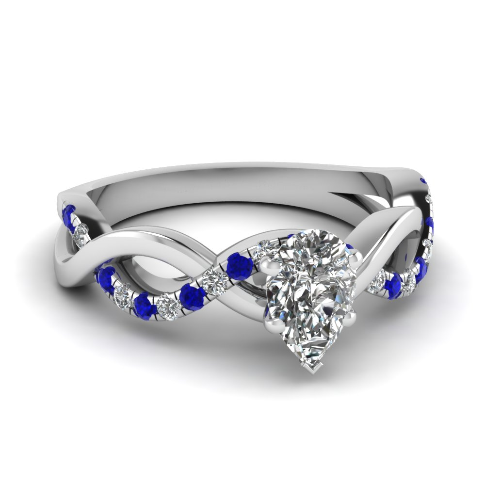 infinity pear shaped diamond engagement ring with sapphire in FD1122PERGSABL NL WG