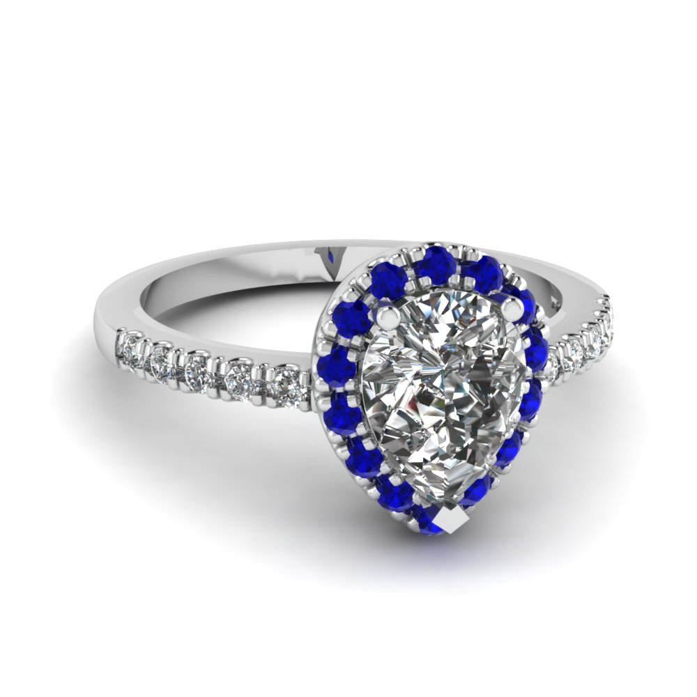 pear shaped halo diamond engagement ring with sapphire in. Black Bedroom Furniture Sets. Home Design Ideas