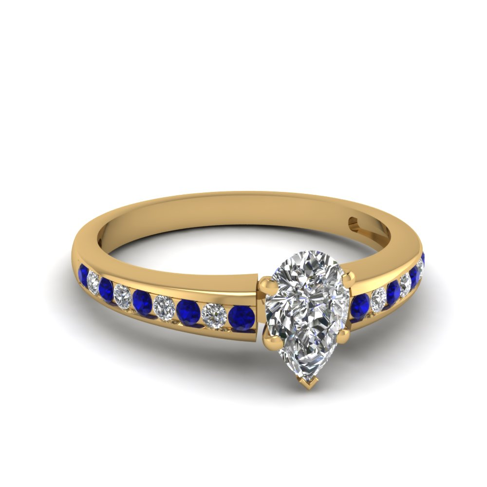pear channel diamond with sapphire ring in FDENS3018PERGSABL NL YG