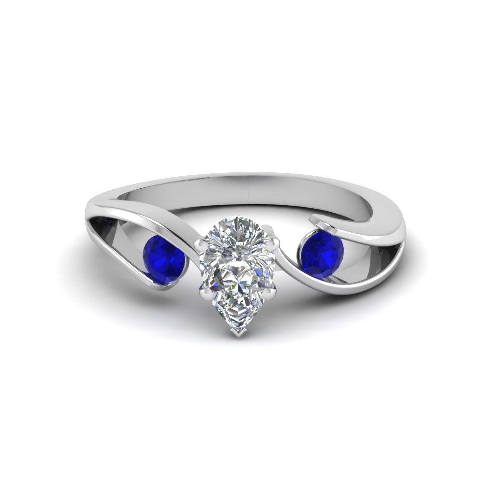 tension set pear shaped 3 stone engagement ring with sapphire in FDENR1140PERGSABLANGLE1 NL WG