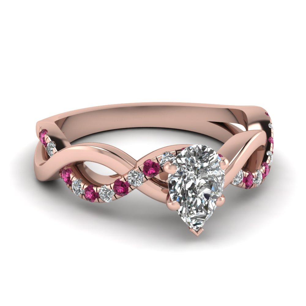 Infinity 14k Rose Gold Side Stone Engagement Rings