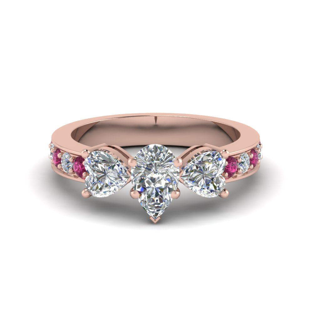 pear shaped pave 3 stone diamond engagement ring with pink sapphire in FD8031PERGSADRPI NL RG