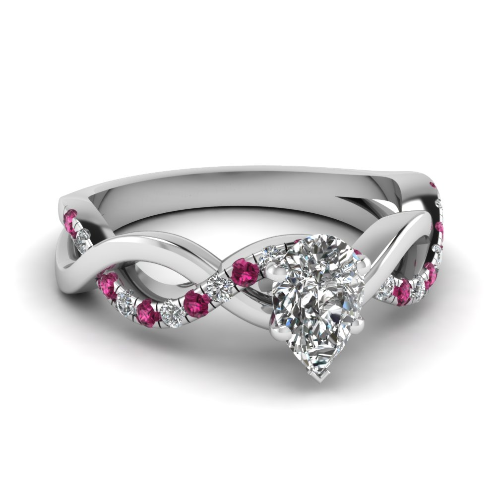 Pear Shaped Diamond Side Stone Engagement Rings With Pink Sapphire In 14k  White Gold