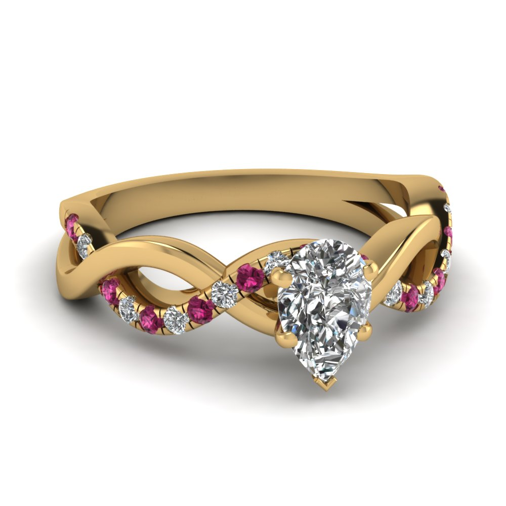 infinity pear shaped diamond engagement ring with pink sapphire in FD1122PERGSADRPI NL YG