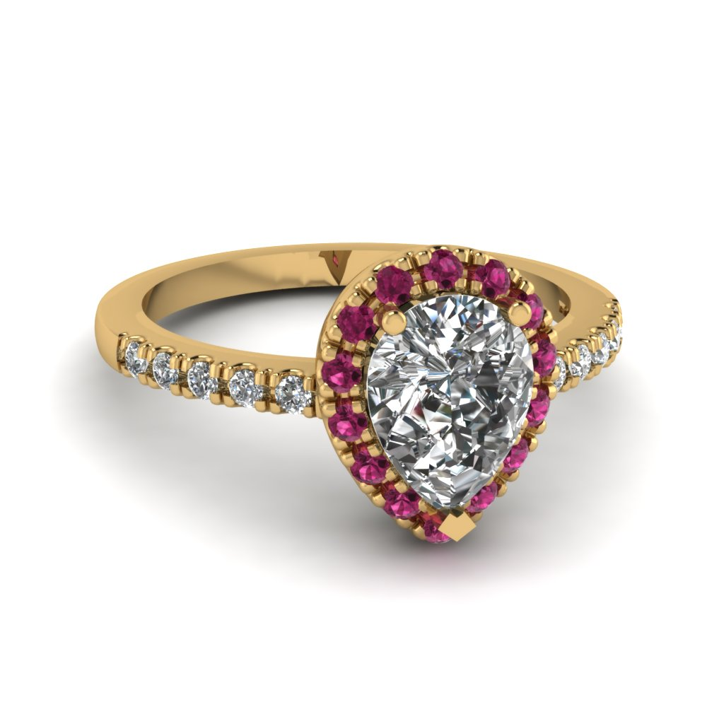 pear shaped pink sapphire halo diamond engagement ring in FDENR509PERGSADRPI NL YG