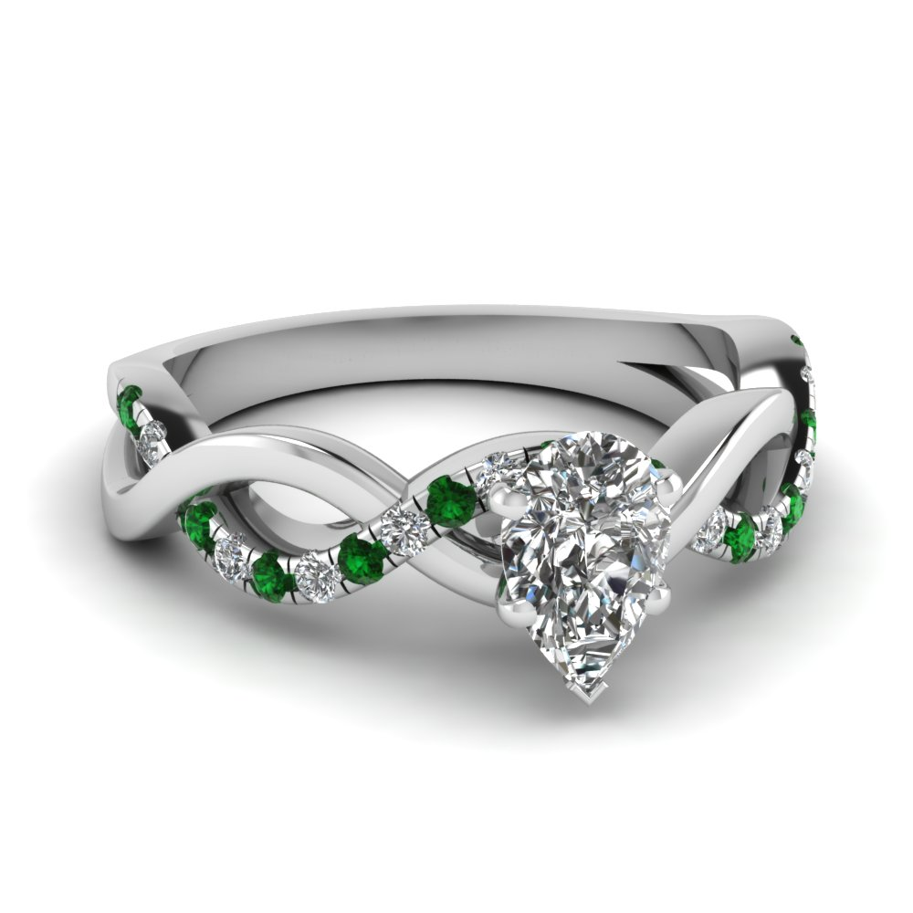 pear shaped infinity diamond ring with emerald in 14k white gold