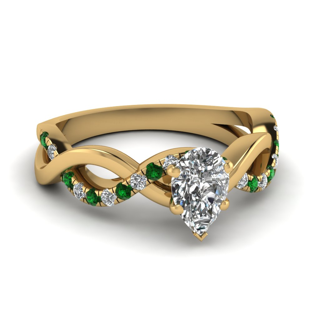 Infinity Pear Shaped Emerald Ring