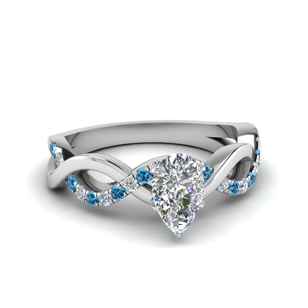pear shaped infinity diamond engagement ring with blue topaz in FD1122PERGICBLTO NL WG