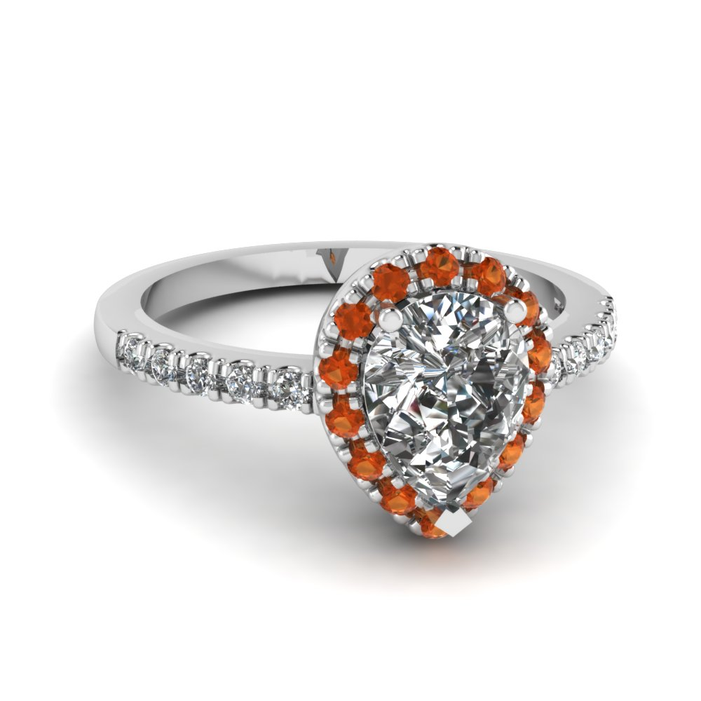 pear shaped orange sapphire halo diamond engagement ring in FDENR509PERGSAOR NL WG