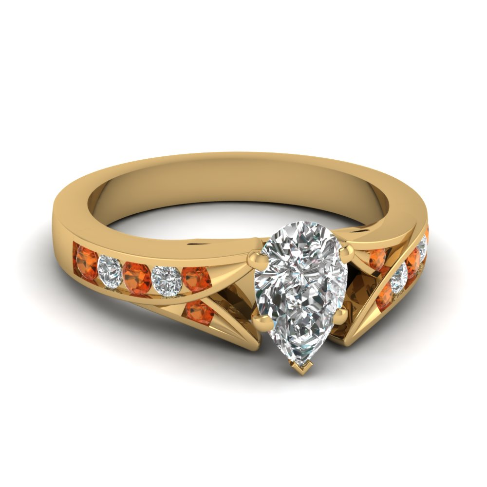 Pear Shaped Orange Sapphire Engagement Rings