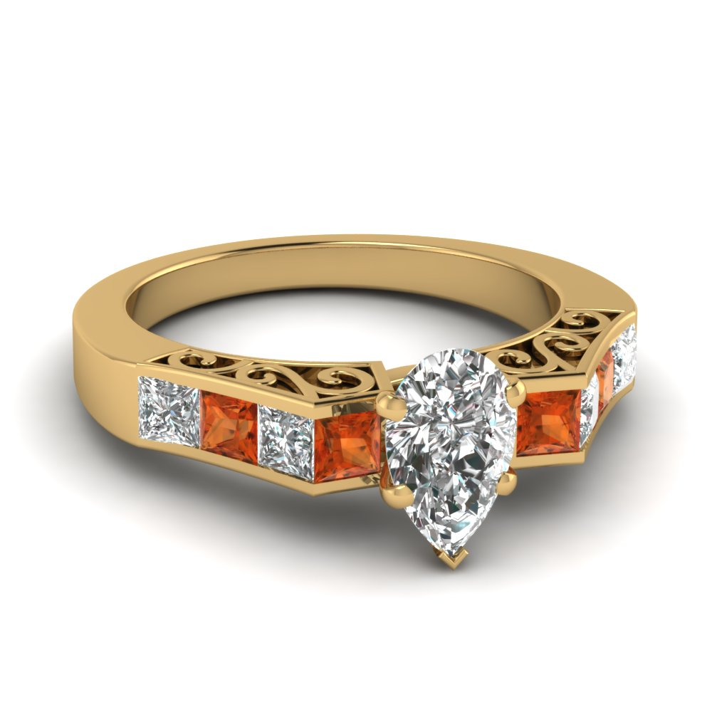 channel diamond pear shaped vintage engagement ring with orange sapphire in FDENS151PERGSAOR NL YG