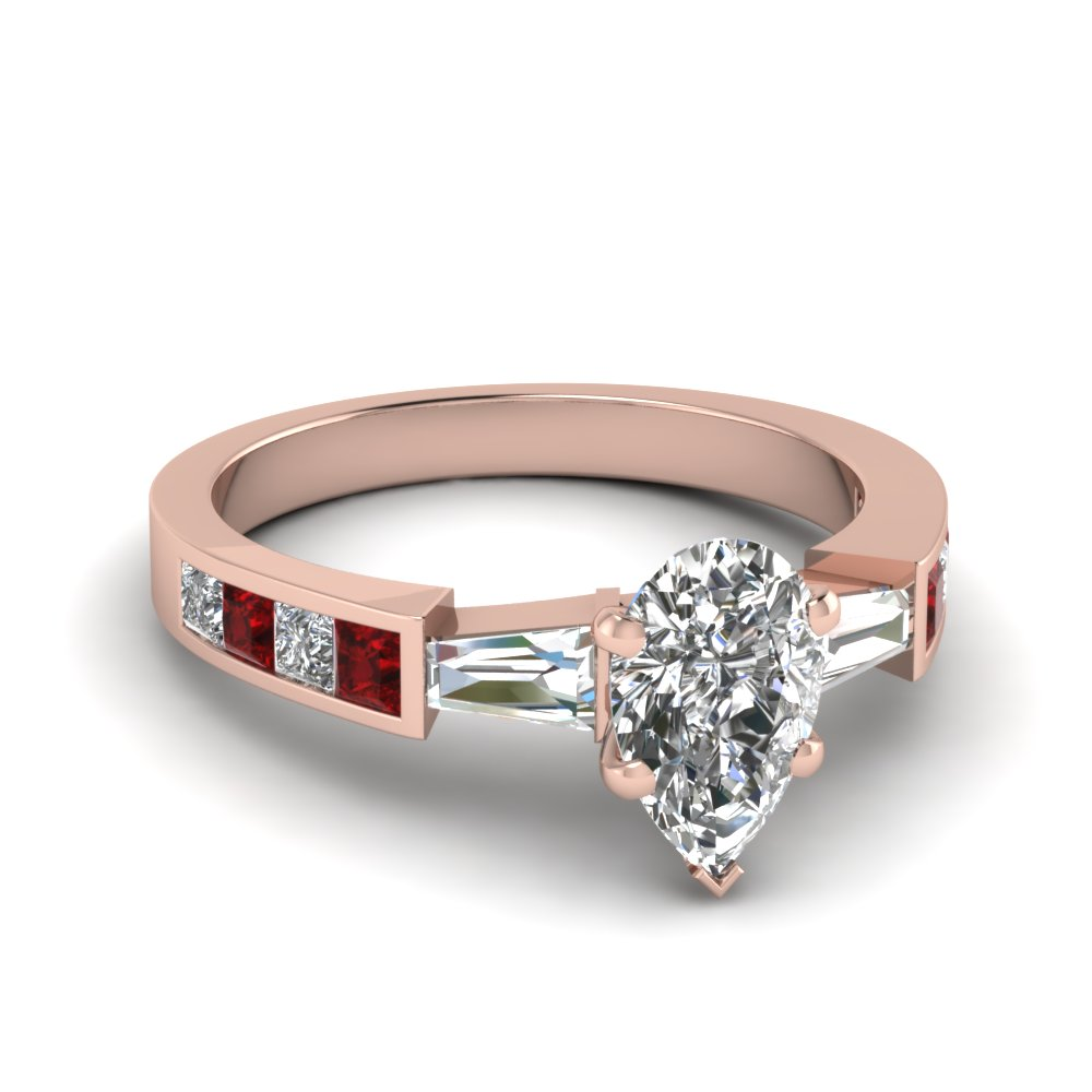 Pear Shaped Diamond Side Stone Engagement Rings With Red Ruby In 14k Rose  Gold