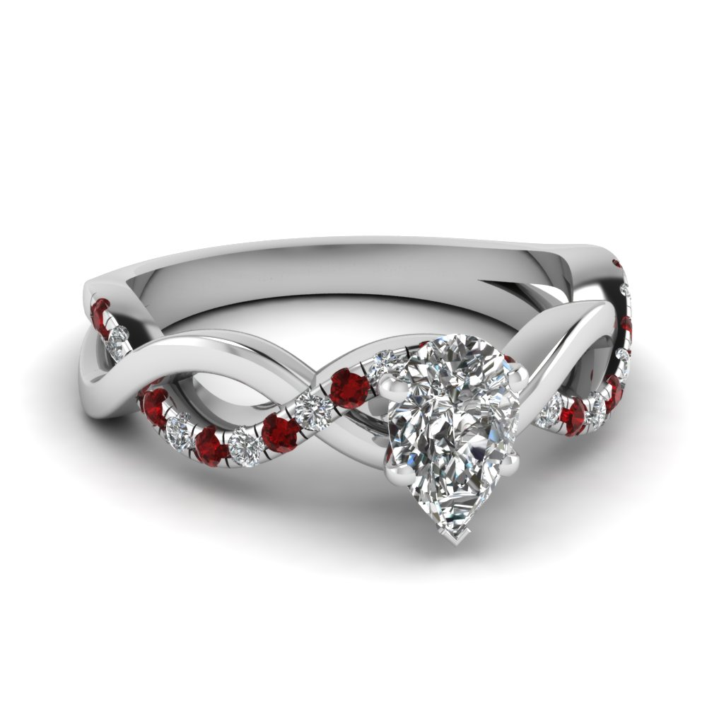 Pear Shaped Infinity Ruby Ring