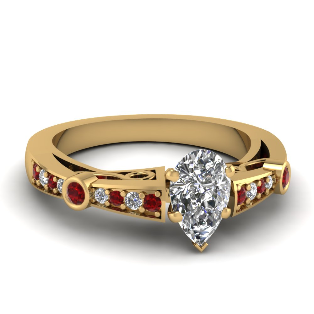 pear shaped diamond tapered vintage engagement ring with ruby in FDENR3142PERGRUDR NL YG