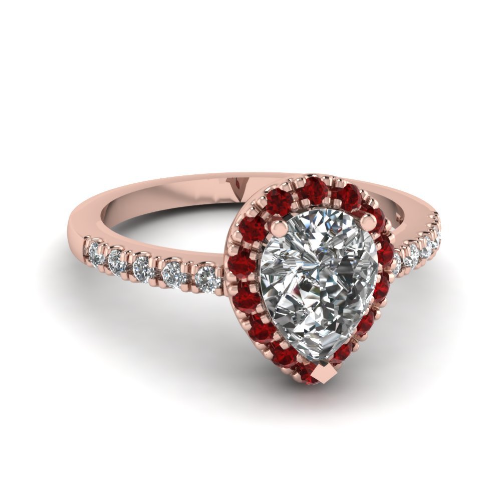 Pear Shaped Diamond Engagement Ring With Red Ruby In 18k Rose Gold  Fdenr509pergrudr Nl Rg