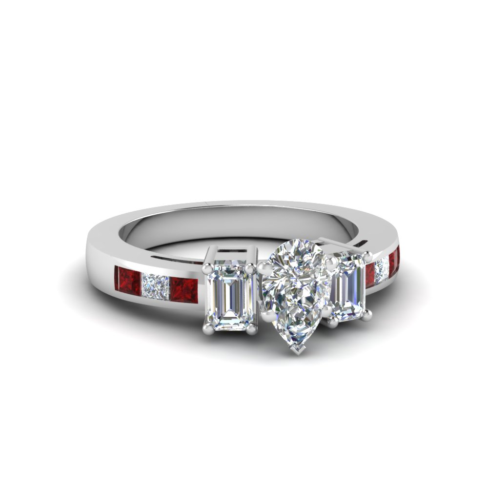 channel set 3 stone pear diamond engagement ring with ruby in FDENS207PERGRUDR NL WG