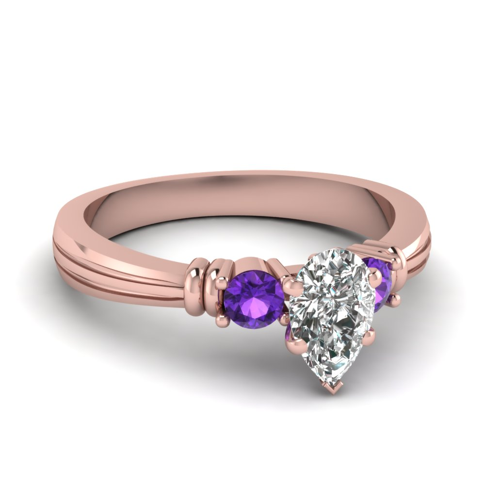 Purple Topaz Pear Shaped Ring