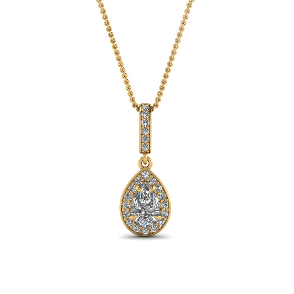 pear halo diamond drop pendant in FDPD85656PE NL YG