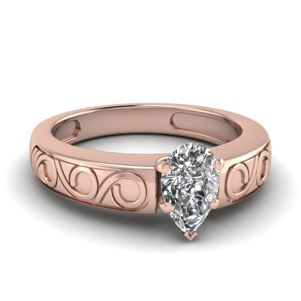 Filigree Pear Shaped Solitaire Engagement Ring
